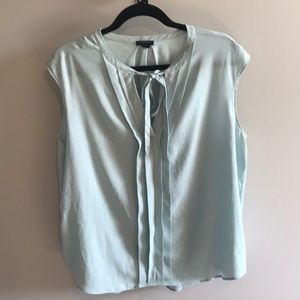 Mint Colored, Tie Neck Pleated Blouse- Ann Taylor
